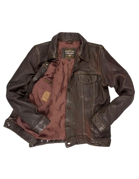 Куртка Пилот Stonewashed Leather Jean Jacket