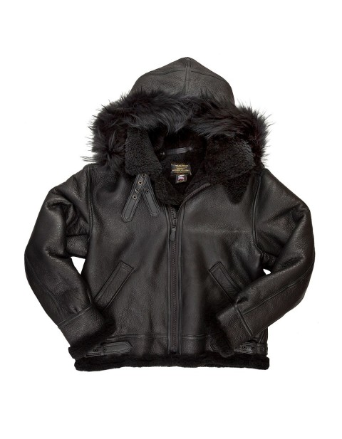 Куртка Пилот All Black B-3 Hooded Sheepskin Bomber Jacket